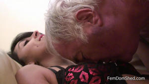 Femdom Shed: Lick the sweat from between my tits slave boy